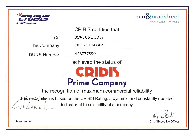 Il riconoscimento CRIBIS Prime Company a Biolchim